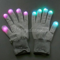 Wholesale New Mode Colorful LED Rave Light Finger Lighting Flashing Finger Magic White Glove Glow Party dandys