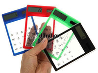 Wholesale New Fashion Mini Transparent Solar Powered Digits Credit Card Touch Screen Electronic Calculator dandys