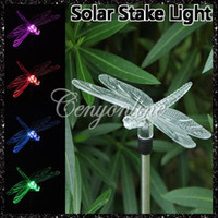 Wholesale Hot Color Changing Garden Yard Xmas Decor Solar Power Dragonfly Hummingbird LED Stake Light Lamp Retail Package dandys