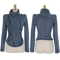 Wholesale 2014 Brand New Arrival Women s Denim Outerwear Slim Jacket Long sleeve Retro Top Quality