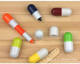 Wholesale Pills telescopic pen creative pen Cute Lovely Face cartoon pen Vitamin Capsule retractable ballpen tablets Stationery