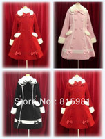 Cheap Red Double Breasted Bowed Winter Warm Woolen Lolita Coat CapeGothic Cosplay Overcoat Jacket Vintage Ladies' Girls' Trench