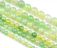 Manzana AAA verde natural Onyx ágata de la joyería de imitación de los granos flojos de la piedra preciosa de la Ronda haciendo 6.8 / 10/12 mm Por favor, seleccione el tamaño 018012008