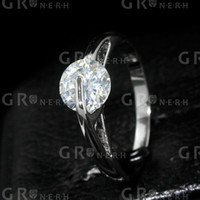 Cluster Rings Wedding Channel setting Top Quality Classic White Gold Plated Classic Sparkling Solitaire 1ct CZ Wedding Rings (C20146R0170-1.8g) GR.NERH