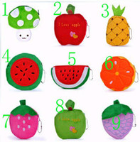 Wholesale Fruit Coin Purses cartoon zero wallet plush toys wallet