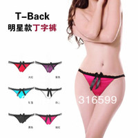 Women Polyester Boxers & Boy Shorts Free Shipping Fashion Sexy Thong Panty Butterfly Lace T-Back Wholesale Dropship YST8002