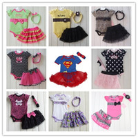 Wholesale Summer Fashion Baby Girls Sets Leopard Bowknot Dots Skull Romper Tutu Skirt Headband Set Lace Tutu Outfits Rompers Designs C2195