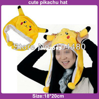 Unisex Summer Crochet Hats fashion caps cute YELLOW pikachu Mens Womens costume skullies & beanies,children kids winter plush warm beanie hats
