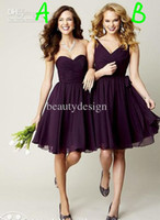 Wholesale 2014 Custom made dark purple chiffon A line sweetheart or V neck backless sleeveless knee length bridesmaid dresses girl party gowns BO3615