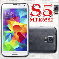 Wholesale S5 PHONE SM G900 PHONE smart phone Perfect MTK6582 Quad Core quot IPS quad core MP Healthcare I9600 phone Android4 kitkat G WCDMA phone