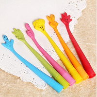 Wholesale Creative Cartoon bent finger pen ball point pen stationery cute fun gesture pen Color Mix a298