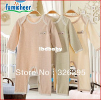 Wholesale Top Quality Organic Cotton Baby Boy Open seat Long Rompers Autumn Newborn Split Jumpsuits Toddler Clothing Summer