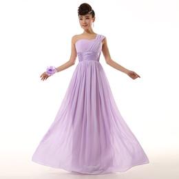 Wholesale 2015 new Bridesmaid wedding One shoulder lace up Prom Maxi Dress chiffon royal blue light purple plus size under