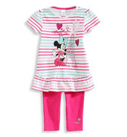 Wholesale Summer New sets minnie mouse children girls short sleeve t shirts pants clothes set suit in stock
