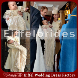 Wholesale Vintage Famous Prince George Christening Dresses with Beautiful Tiered Half Sleeve Long Champagne Lace Unique Baby Christening Gowns