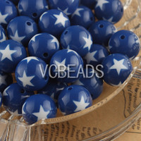 Wholesale USA National mm Round Acrylic Blue Beads with White Star Patriotic Decoration Memorial Jewelry for Independence Day th of July