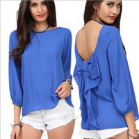 Wholesale QY32 HOT NEW Summer fashion European women shirt colour sexy Chiffon Loose Backless Bow Pattern Blouse S XL