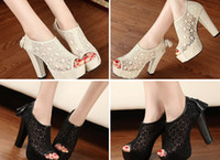 Wholesale Straw High Heeled Pumps - Lace Hollow out Womens Shoes Tassel Zip High Heels Peep toe Pump Sanda