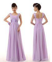 Wholesale 2014 new wedding evening prom maxi chiffon wedding formal party bridesmaid lace up ruched purple Blue fuchsia lilac dress