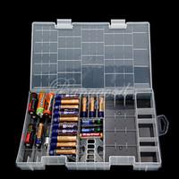 Wholesale AAA AA C D V Battery Storage Holder Hard Plastic Case Box Rack Transparent New