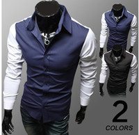Men Cotton Long Sleeve 2014 summer Fashion High qualitied New men's shirts long sleeves splice POLO shirts man men tops upper garments clothing shirt 3238