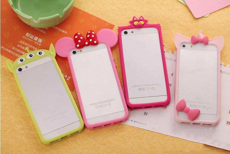 Buy 3D Cute Cartoon Kitty Minnie Mickey Soft Silicone Skin Bumper Cover Apple iPhone 5/5s/4/4s Case 6TF