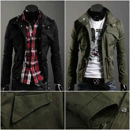 Wholesale Men s Military Style Jacket Slim Fit Stand Collar Male Coat Fashion Zip Button Man Outerwear Hoody Overcoat US Size XS S M L