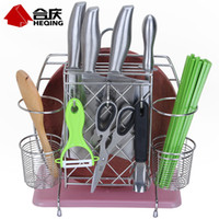 Wholesale stainless steel shelf storage products chopsticks tube cage multifunctional tool holder knife block chopping block rack