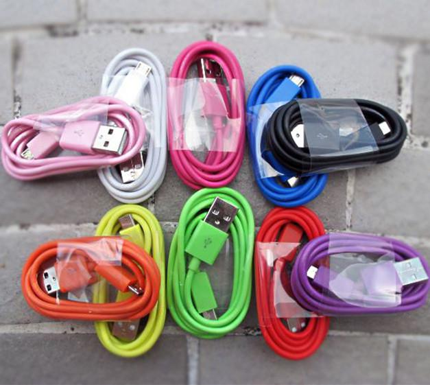 Micro USB V8 Charger Round Cable 1M 3FT Sync Data Line Colorful Charging Cord Wire Adapter Samsung s6 7s edge s6 s7 edge Android Phone