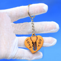 Wholesale New Cheap Promotion Festival Gift Wood Double Side quot LOVE YOU quot Keychain keyring Chain Ring Couple Lover Promotion Presents