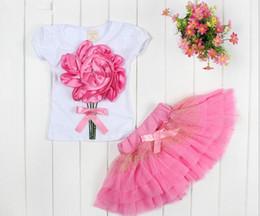 Wholesale GXR Baby Clothing Summer Short Sleeve D Flower Tshirt Tutu Skirt Baby s Girl Suit Year Kids Set Toddler Wear GX149