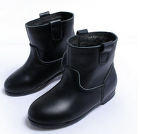 Wholesale Retail NEW kids real cow leather thick boot girl fleece shoes children girls winter B14732