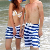 Wholesale 2014 New nd Beach Couples swimwear shorts Women Men Blue Striped Board Shorts Quick drying Spring Summer Surf Sports Shorts