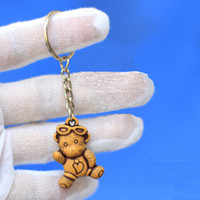 wood cute couple Keychain bear skeleton - Promotion Festival Gift Lovely Bear Keychain keyring Chain Ring Commerical Couple Key Rings