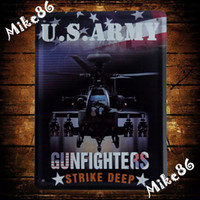 Wholesale Mike86 Helicopter Gunfighters Strike Deep Metal Plaque Vintage Wall Art decor ARMY Metal Painting K Mix Item CM