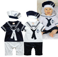 Wholesale summer Retail navy style baby romper suit kids boys girls rompers hat body summer short sleeve sailor suit