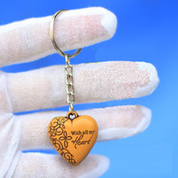 Wholesale 2014 New Cheap Promotion Festival Gift Wood Double Side Lover Heart Keychain keyring Chain Ring Couple Lover Fashion Accessories
