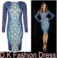 Wholesale Celeb long sleeve knee length blue leopard print dress plus size women bodycon dress new fashion Khloe Kardashian pencil dress DK1101YZ