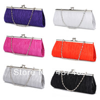 Wholesale Fashion Satin Pleated Ruched Purse Ladies Bridal Evening Wedding Handbag Party Club Clutch Bag