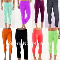 Wholesale LULULEMON WUNDER UNDER CROP Discounted Lulu Candy Colors Crops Yoga Capris Sport Pants Legging for Women