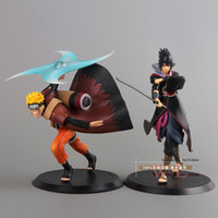 Wholesale 2pcs Naruto Shippuden Uchiha Sasuke Uzumaki Naruto PVC Action Figure Collectible Model Toy NTFG070