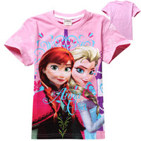 Wholesale 13 styles Frozen Short Sleeve Tshirts Children clothing Cartoon Anna Elsa Tops Tees Kids Clothes Snowflake Queen Tshirt Top Child Kid
