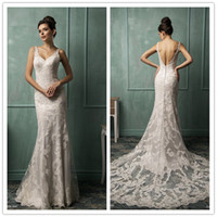 Sheath/Column Reference Images V-Neck Sexy Princess V-neck Backless Amelia Sposa 2014 Wedding Dress Lace Floor Length Mermaid Court Train Bridal Dresses Gowns Free Shipping 0423B