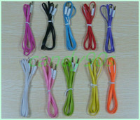 Wholesale Audio cable mm male to male flat noodles Car Aux audio Cable Extended Audio Auxiliary Cable for MP3 for phone etc