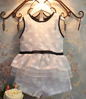 Girl hot summer tops - Hot Sale Summer Children Girls Korean Style White Set Kids Floral Lace Bow Veil Flouncing Sleeveless Tops Shorts Outfits I0299