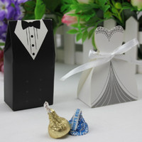 Wholesale 50pcs bride and groom candy box for wedding decoration or wedding invitation or wedding favor