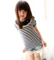 Girl Summer Standard Hot! New Korea Summer Girls Striped Bow Short Sleeve Tshirts Kids Clothing Ruffles Lace Doll Collar Lovely Tops 2014 Childs T-shirts H0320