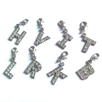 Wholesale 1pcs each Letter Rhinestone Metal Rhodium Plated Initial Alphabet Letter Charm With Lobster Claw Jewelry Accessories