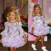 Wholesale 2014 Eden Wood Pageant Dresses V Neck Beads Sequins Bow Organza Pink Illusion Lace Long Sleeve Little Girls Pageant Dress