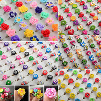 Wholesale New Arrival Bulk Mixed Polymer Clay Kids girls boys Rings Jewelry